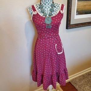 Vintage Apron Style Burgundy Flower Sun Dress